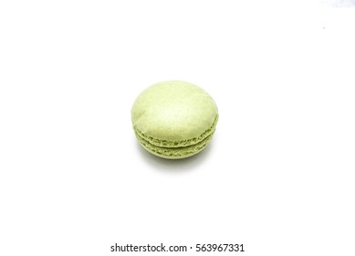 Sweet and lime french macaroon or macaron isolated on white background