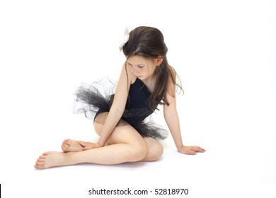 Sweet little ballerina girl in black tutu
