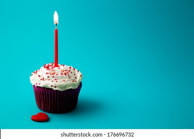 sweet little birthday cake with candles