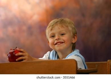 Sweet Little Boy in School
