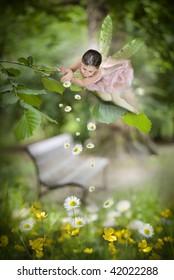 Sweet little fairy in the garden