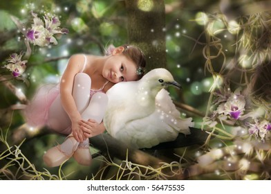 Sweet little fairy with white pigeon
