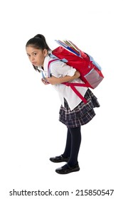 sweet little girl carrying heavy backpack or school bag full  causing stress and pain on back due to overweight isolated on white background