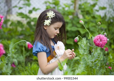 Sweet little girl in a country yard with blossom poppies