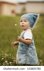 sweet little girl with flower