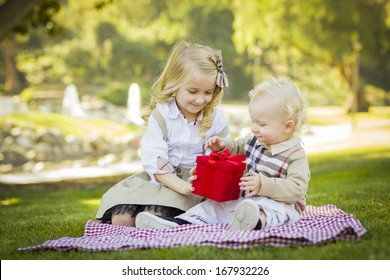 Sweet Little Girl Gives Her Baby Brother A Wrapped Gift on a Picnic Blanket Outdoors at the Park.