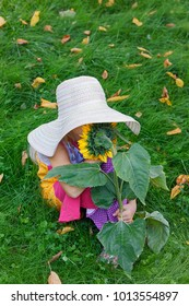 sweet little girl with a sunflower in her hand playing hide and seek