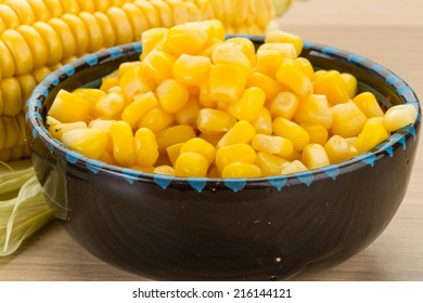 Sweet marinated corn in the bowl