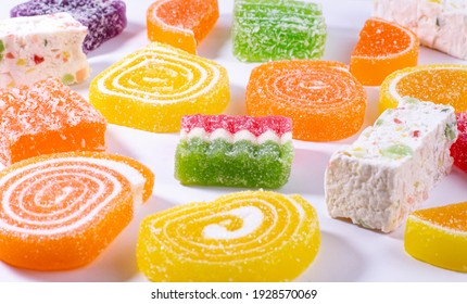Sweet marmalade or jelly candy on a white background.