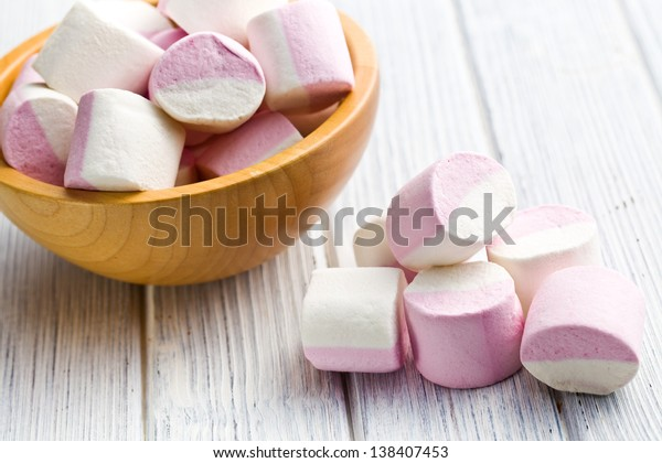 sweet marshmallows on white table