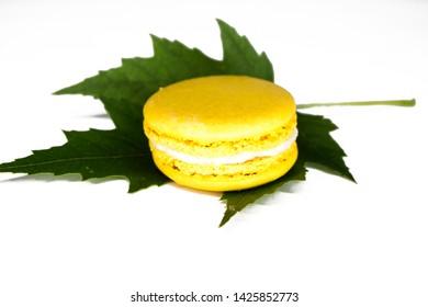 Sweet mascarpone. Maple leaf. White background.