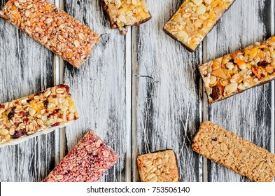 Sweet muffins bars. Energy bars on a wooden table.