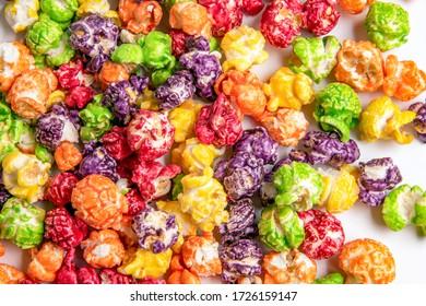 sweet multicolored popcorn close up