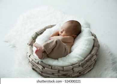 sweet newborn baby sleeps in a basket on a white background