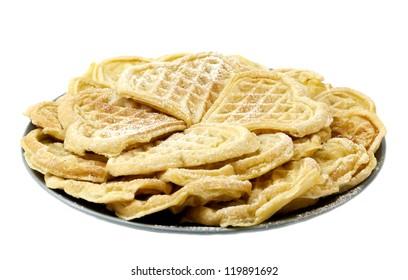 Sweet Norwegian waffles isolated on white background