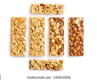 Sweet nut bars with honey isolated on white background.
