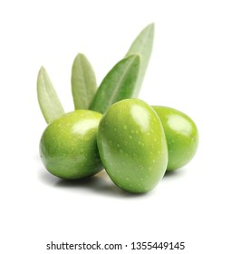 Sweet olives with leaves isolated on white backgrounds.