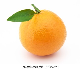 Sweet orange with leaves