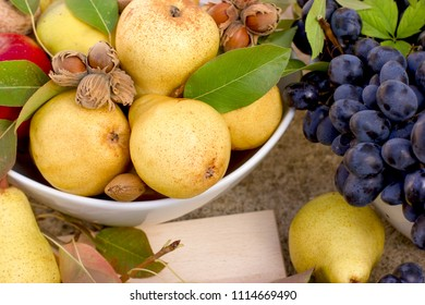 Sweet organic pear, seasonal fruit, autumn fruit - rich harvest