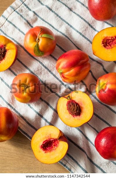 Sweet Organic Ripe Yellow Nectarines Ready to Eat