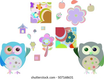 sweet owls and flowers isolated on white