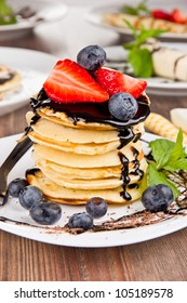 Sweet pancakes with chocolate