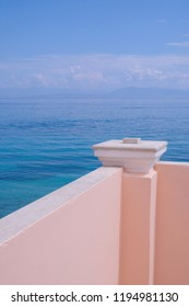Sweet Pastel Pink Wall And Summer Sea View Minimalism Style Minimal Architecture Details Vertical Nude Color