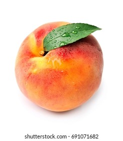 Sweet peach with water drops isolated on white backgrounds.