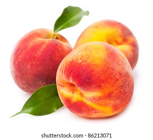 sweet peaches on white background