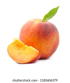 Sweet peaches on white backgrounds.