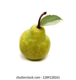 Sweet pear with isolated fruit leaf on white background for design.