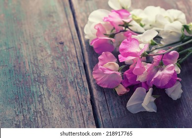 Sweet peas flowers on aged wooden background.