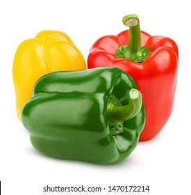 sweet pepper, red, green, yellow paprika, isolated on white background, clipping path, full depth of field