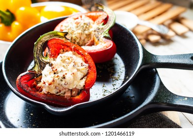 Sweet pepper stuffed with chicken, cheese and quinoa