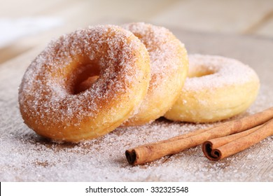Sweet pieces of sugar doughnuts with cinnamon sugar