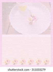 sweet pink colour diary paper stationery or letter paper design made picture softly opacity for behind background the pattern decorated lovely flower plumeria
