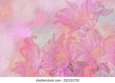 Sweet pink flower on mulberry paper texture for background