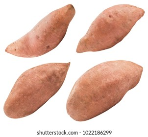 Sweet pink potato isolated on white background  with clipping path