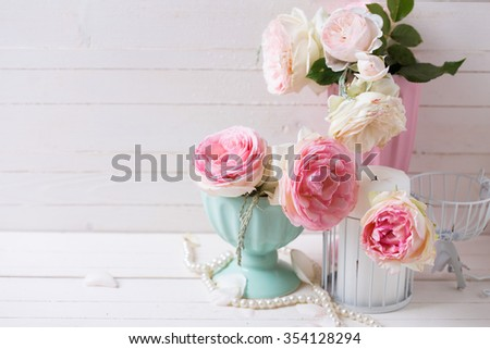 Sweet Pink Roses Flowers Vases Candle Stock Photo Edit Now