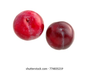 Sweet plum. Two red plums isolated on white background. Ripe plum fruit