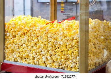 Sweet popcorn shop close up view