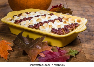Sweet potato casserole with pecans and marshmallow topping
