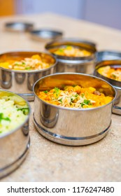 Sweet Potato and Cauliflower Curry in Indian Tiffin (Dabba) Lunch Container