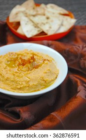 Sweet potato chickpea hummus with tortilla chips