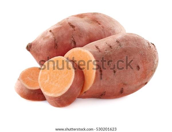 Sweet potato in closeup on a white background