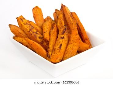 sweet potato fries white background