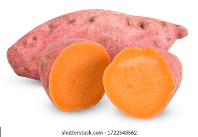 sweet potato and half isolated on white , potato clipping path