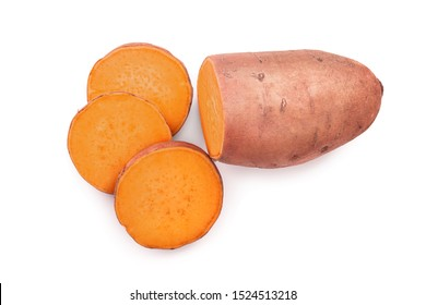 Sweet potato isolated on white background closeup. Top view. Flat lay. - Shutterstock ID 1524513218