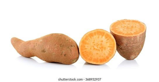Sweet potato isolated on the white background.