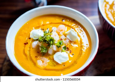 Sweet Potato Soup with Carrot, Pumpkin, Shrimps, Feta Cheese, Parsley and Red Pepper